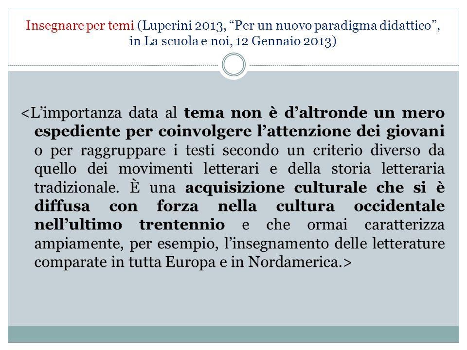 """Insegnare per temi (Luperini 2013, """"Per un nuovo paradigma didattico"""", in La scuola e noi, 12 Gennaio 2013)"""