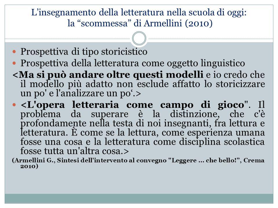 """L'insegnamento della letteratura nella scuola di oggi: la """"scommessa"""" di Armellini (2010) Prospettiva di tipo storicistico Prospettiva della letteratu"""