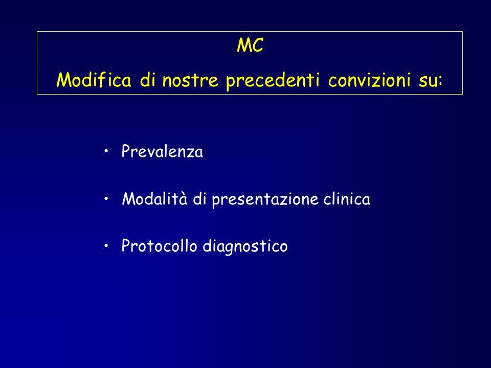 MC Modifica di nostre precedenti convizioni su: Prevalenza Modalità di presentazione clinica Protocollo diagnostico