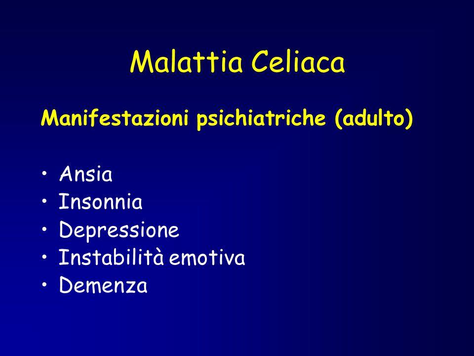 Malattia Celiaca Manifestazioni psichiatriche (adulto) Ansia Insonnia Depressione Instabilità emotiva Demenza
