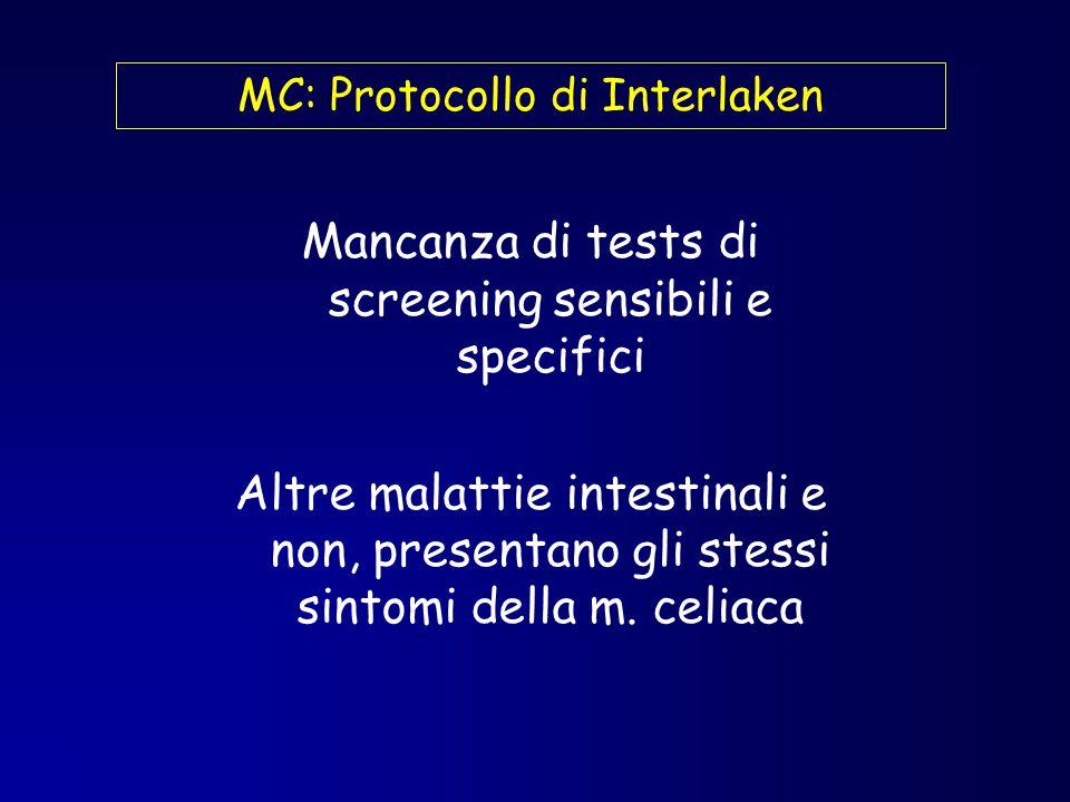 MC: Protocollo di Interlaken Mancanza di tests di screening sensibili e specifici Altre malattie intestinali e non, presentano gli stessi sintomi dell