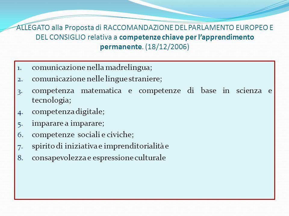 ALLEGATO alla Proposta di RACCOMANDAZIONE DEL PARLAMENTO EUROPEO E DEL CONSIGLIO relativa a competenze chiave per l'apprendimento permanente. (18/12/2