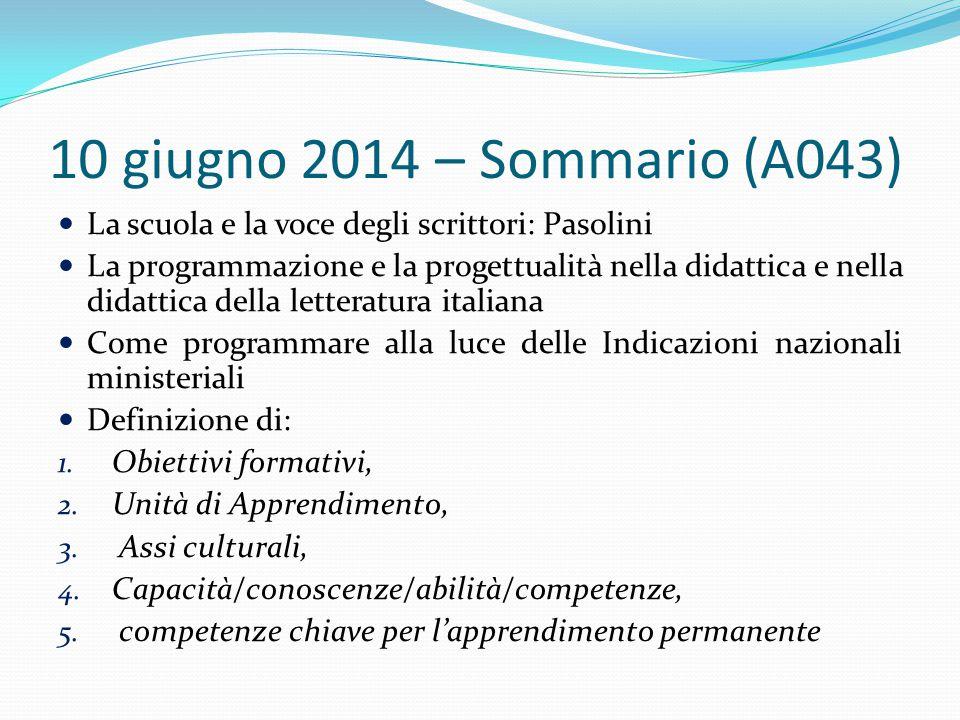 10 giugno 2014 – Sommario (A043) La scuola e la voce degli scrittori: Pasolini La programmazione e la progettualità nella didattica e nella didattica