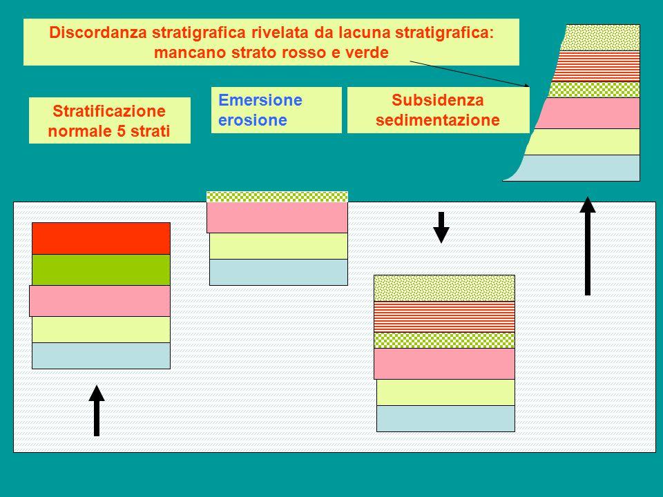 Discordanza stratigrafica rivelata da lacuna stratigrafica: mancano strato rosso e verde Stratificazione normale 5 strati Emersione erosione Subsidenz