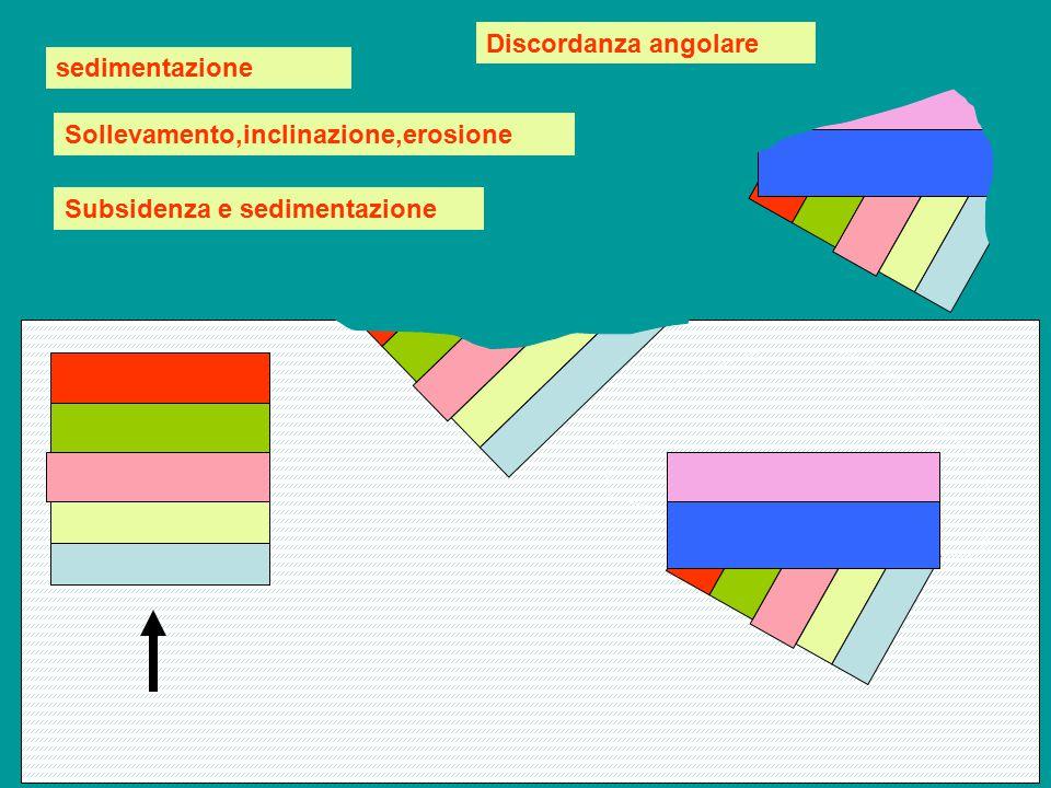 sedimentazione Sollevamento,inclinazione,erosione Subsidenza e sedimentazione Discordanza angolare