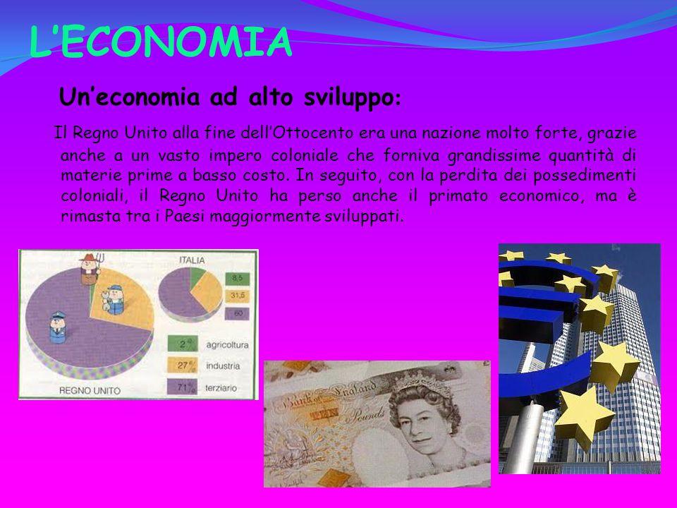 L'ECONOMIA Un'economia ad alto sviluppo : Il Regno Unito alla fine dell'Ottocento era una nazione molto forte, grazie anche a un vasto impero coloniale che forniva grandissime quantità di materie prime a basso costo.