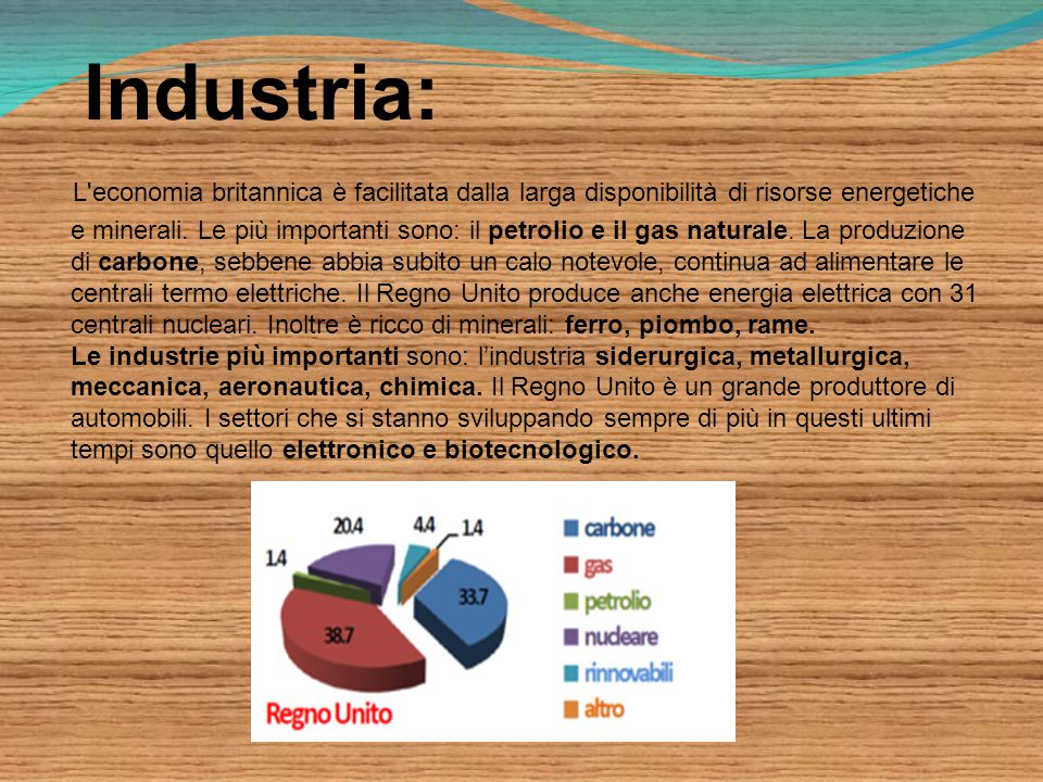 Industria: L economia britannica è facilitata dalla larga disponibilità di risorse energetiche e minerali.