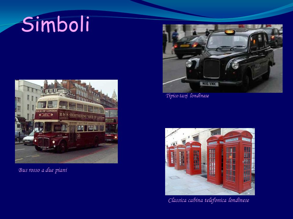 Simboli Tipico taxi londinese Bus rosso a due piani Classica cabina telefonica londinese