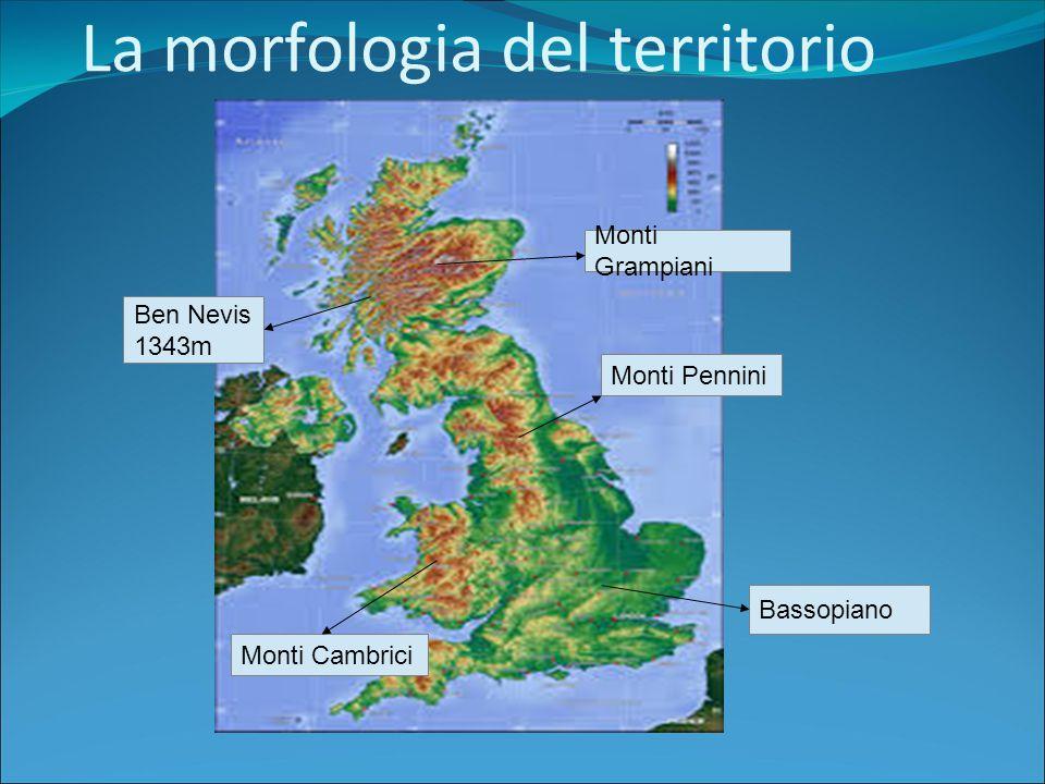 La morfologia del territorio Monti Grampiani Monti Pennini Monti Cambrici Ben Nevis 1343m Bassopiano