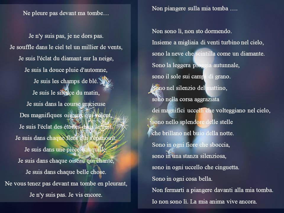 Non piangere sulla mia tomba Scritta nel 1932 da Mary Elizabeth Frye Musica: E. Cortazar, Constellations of romance Realizzazione: Mostafa Traduzione