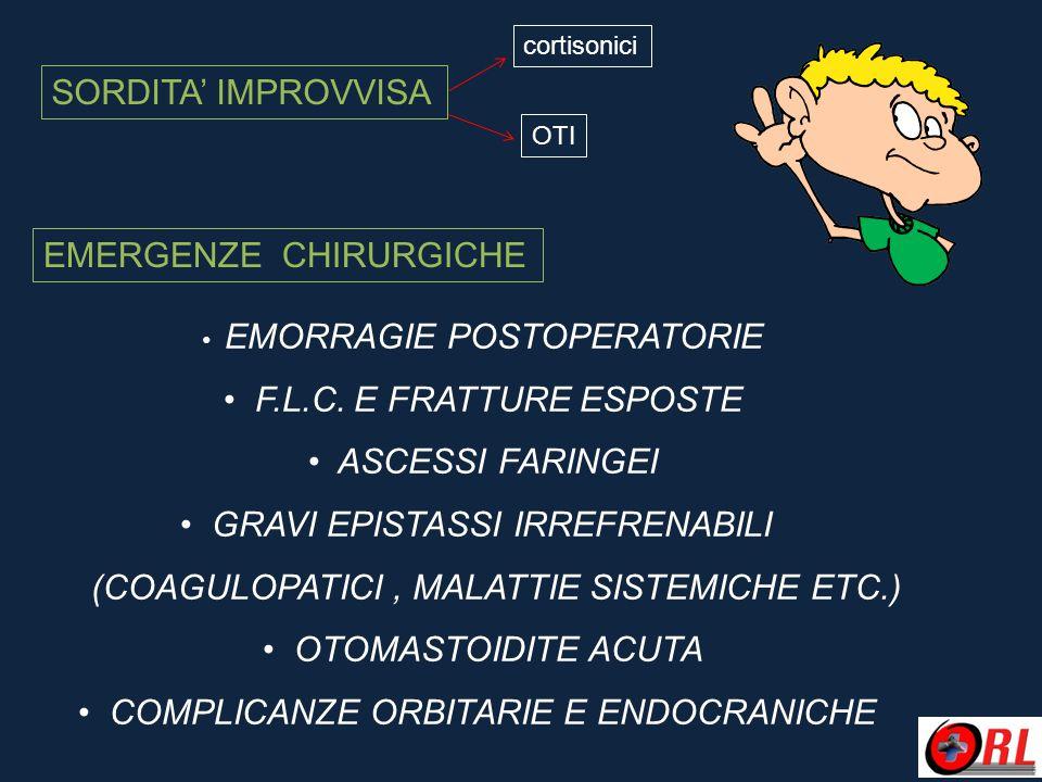 EMERGENZE CHIRURGICHE EMORRAGIE POSTOPERATORIE F.L.C. E FRATTURE ESPOSTE ASCESSI FARINGEI GRAVI EPISTASSI IRREFRENABILI (COAGULOPATICI, MALATTIE SISTE