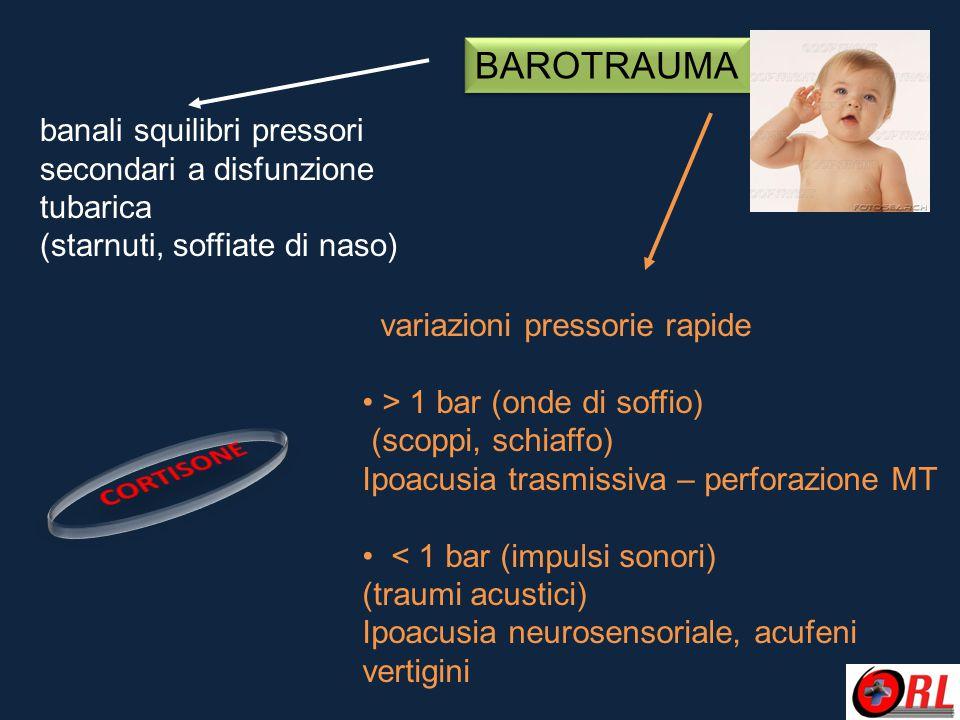 BAROTRAUMA variazioni pressorie rapide > 1 bar (onde di soffio) (scoppi, schiaffo) Ipoacusia trasmissiva – perforazione MT < 1 bar (impulsi sonori) (t