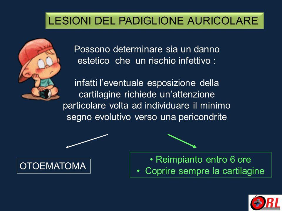 LESIONI DEL PADIGLIONE AURICOLARE Possono determinare sia un danno estetico che un rischio infettivo : infatti l'eventuale esposizione della cartilagi
