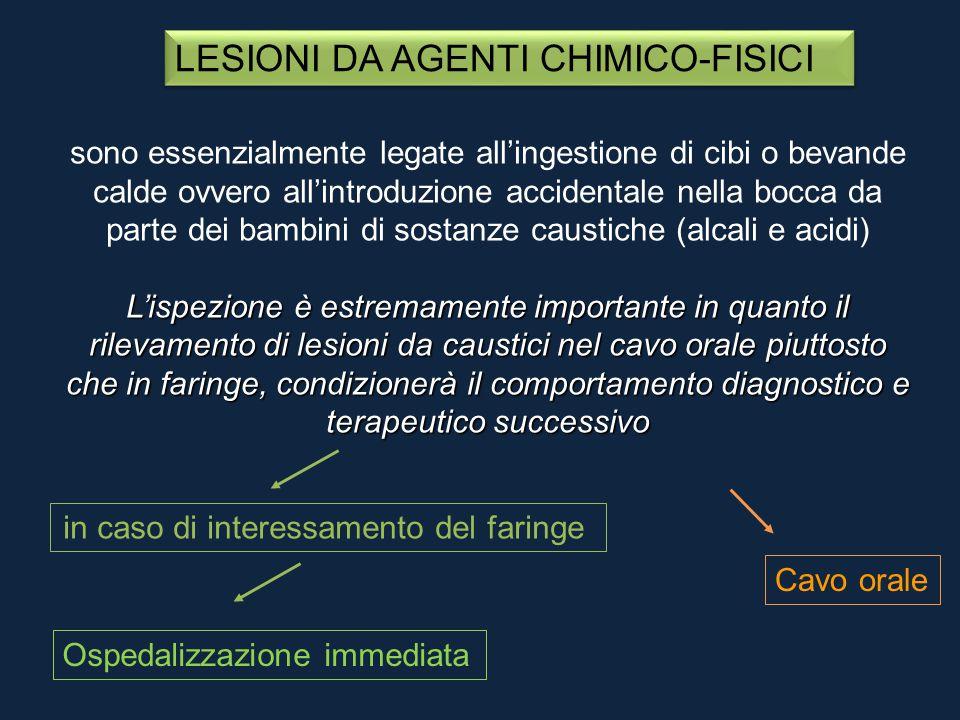LESIONI DA AGENTI CHIMICO-FISICI sono essenzialmente legate all'ingestione di cibi o bevande calde ovvero all'introduzione accidentale nella bocca da