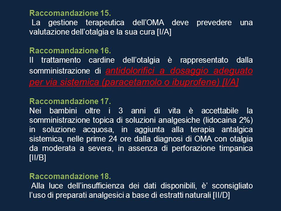 Raccomandazione 15. La gestione terapeutica dell'OMA deve prevedere una valutazione dell'otalgia e la sua cura [I/A] Raccomandazione 16. Il trattament