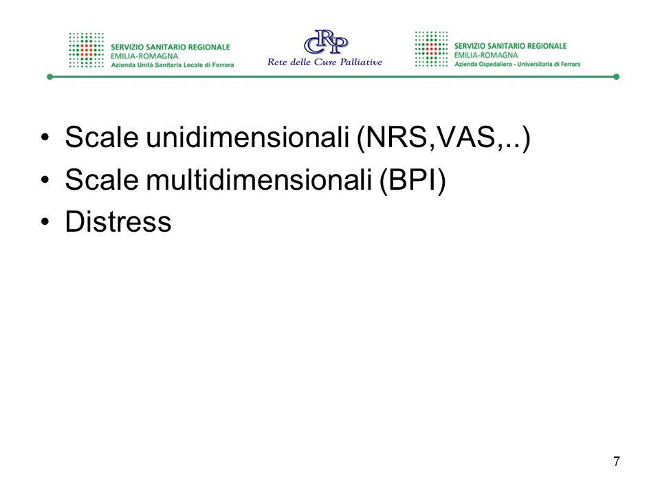 Scale unidimensionali (NRS,VAS,..) Scale multidimensionali (BPI) Distress 7