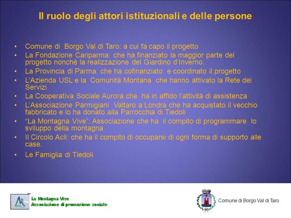 C Comune di Borgo Val di Taro C Comune di Borgo Val di Taro: a cui fa capo il progetto La Fondazione Cariparma: che ha finanziato la maggior parte del