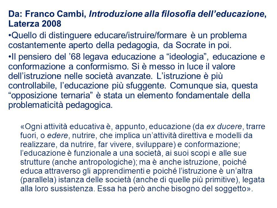 Da: Franco Cambi, Introduzione alla filosofia dell'educazione, Laterza 2008 Quello di distinguere educare/istruire/formare è un problema costantemente aperto della pedagogia, da Socrate in poi.