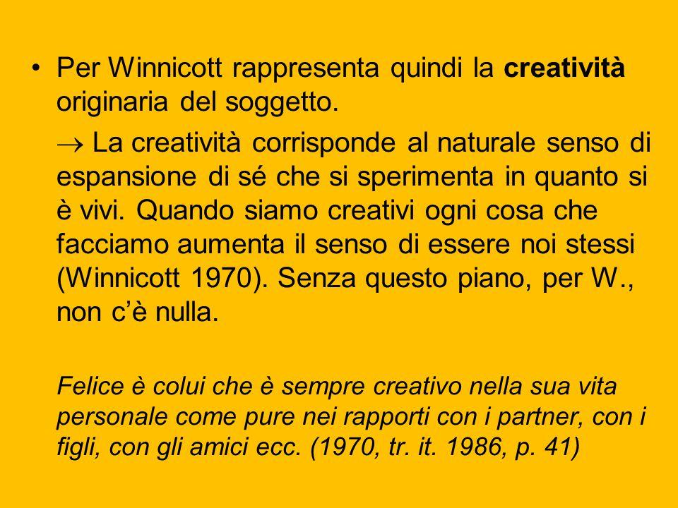 Per Winnicott rappresenta quindi la creatività originaria del soggetto.