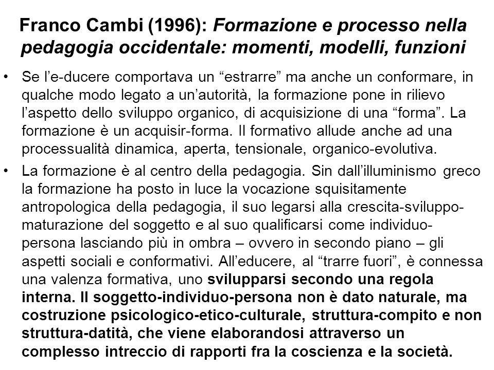 Franco Cambi (1996): Formazione e processo nella pedagogia occidentale: momenti, modelli, funzioni Se l'e-ducere comportava un estrarre ma anche un conformare, in qualche modo legato a un'autorità, la formazione pone in rilievo l'aspetto dello sviluppo organico, di acquisizione di una forma .