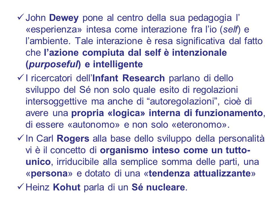 John Dewey pone al centro della sua pedagogia l' «esperienza» intesa come interazione fra l'io (self) e l'ambiente.