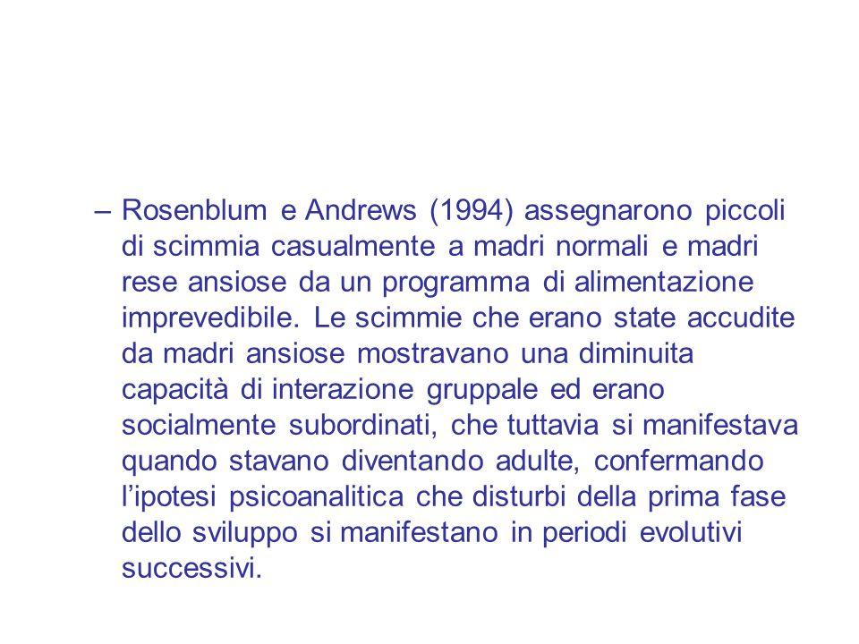 –Rosenblum e Andrews (1994) assegnarono piccoli di scimmia casualmente a madri normali e madri rese ansiose da un programma di alimentazione imprevedibile.