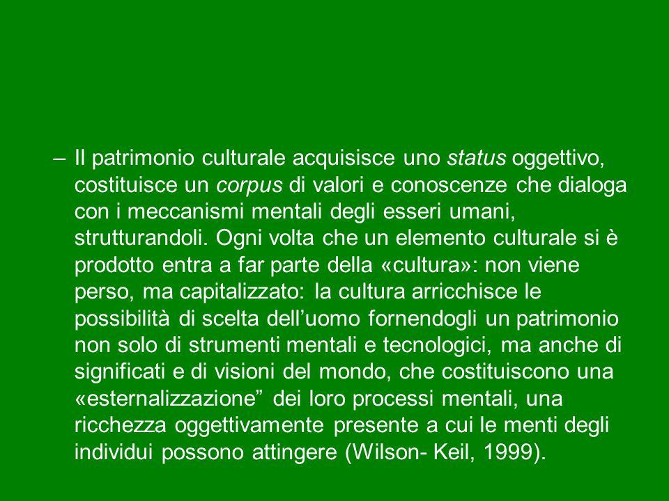 –Il patrimonio culturale acquisisce uno status oggettivo, costituisce un corpus di valori e conoscenze che dialoga con i meccanismi mentali degli esseri umani, strutturandoli.
