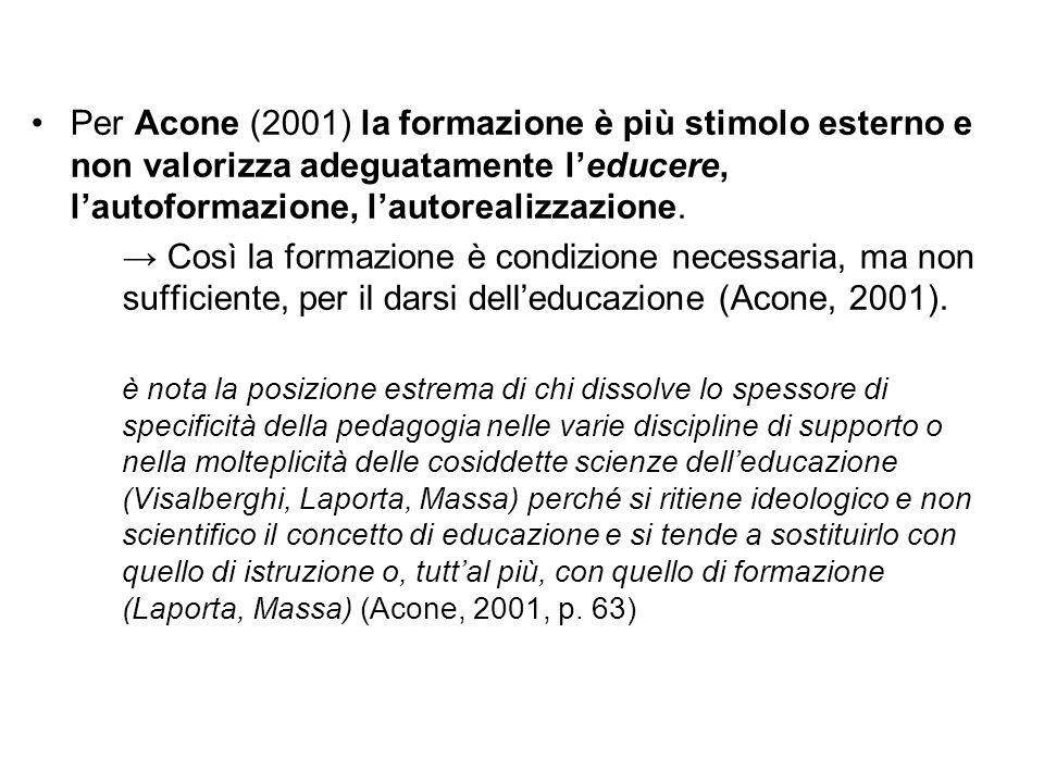 Per Acone (2001) la formazione è più stimolo esterno e non valorizza adeguatamente l'educere, l'autoformazione, l'autorealizzazione.
