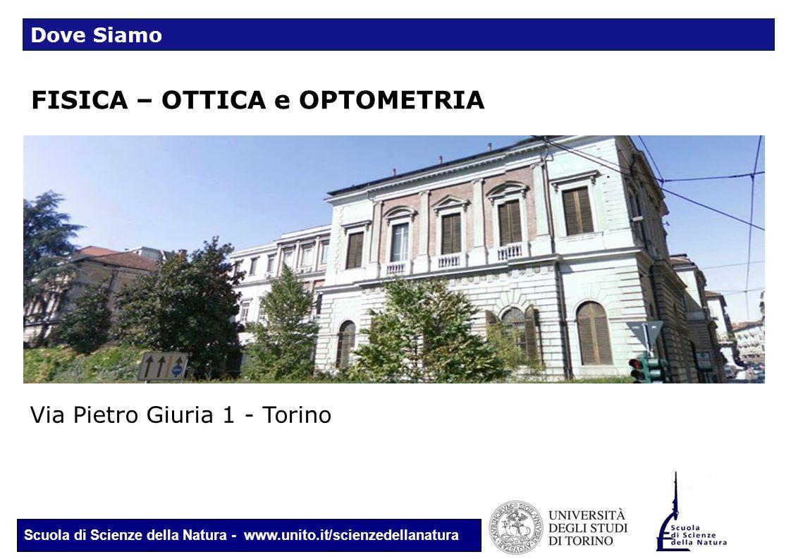 Scuola di Scienze della Natura - www.unito.it/scienzedellanatura FISICA – OTTICA e OPTOMETRIA Via Pietro Giuria 1 - Torino Dove Siamo