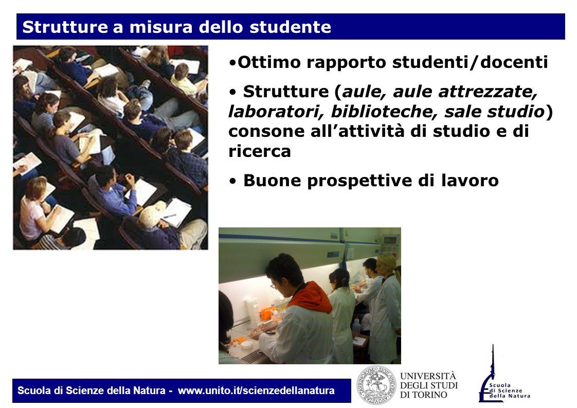 Scuola di Scienze della Natura - www.unito.it/scienzedellanatura Strutture a misura dello studente Ottimo rapporto studenti/docenti Strutture (aule, a