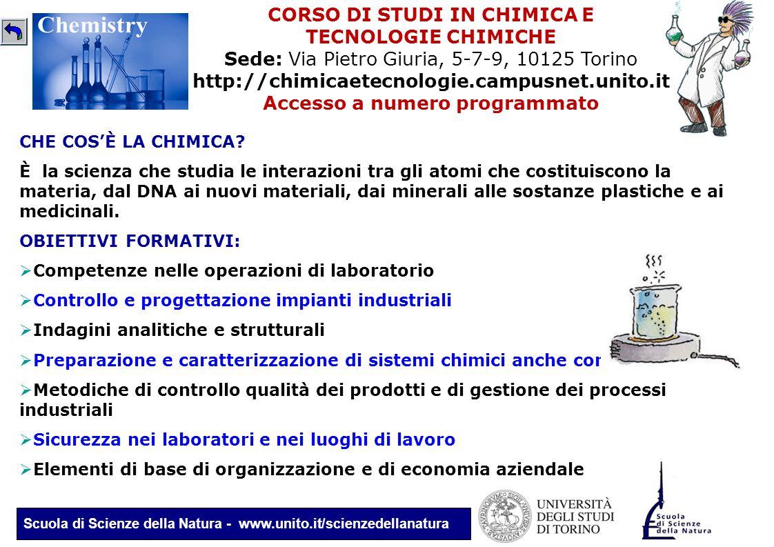 Scuola di Scienze della Natura - www.unito.it/scienzedellanatura CORSO DI STUDI IN CHIMICA E TECNOLOGIE CHIMICHE Sede: Via Pietro Giuria, 5-7-9, 10125
