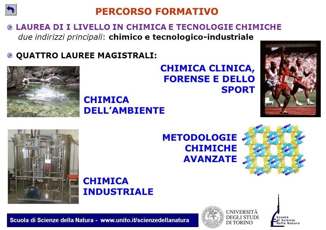 Scuola di Scienze della Natura - www.unito.it/scienzedellanatura LAUREA DI I LIVELLO IN CHIMICA E TECNOLOGIE CHIMICHE due indirizzi principali: chimic