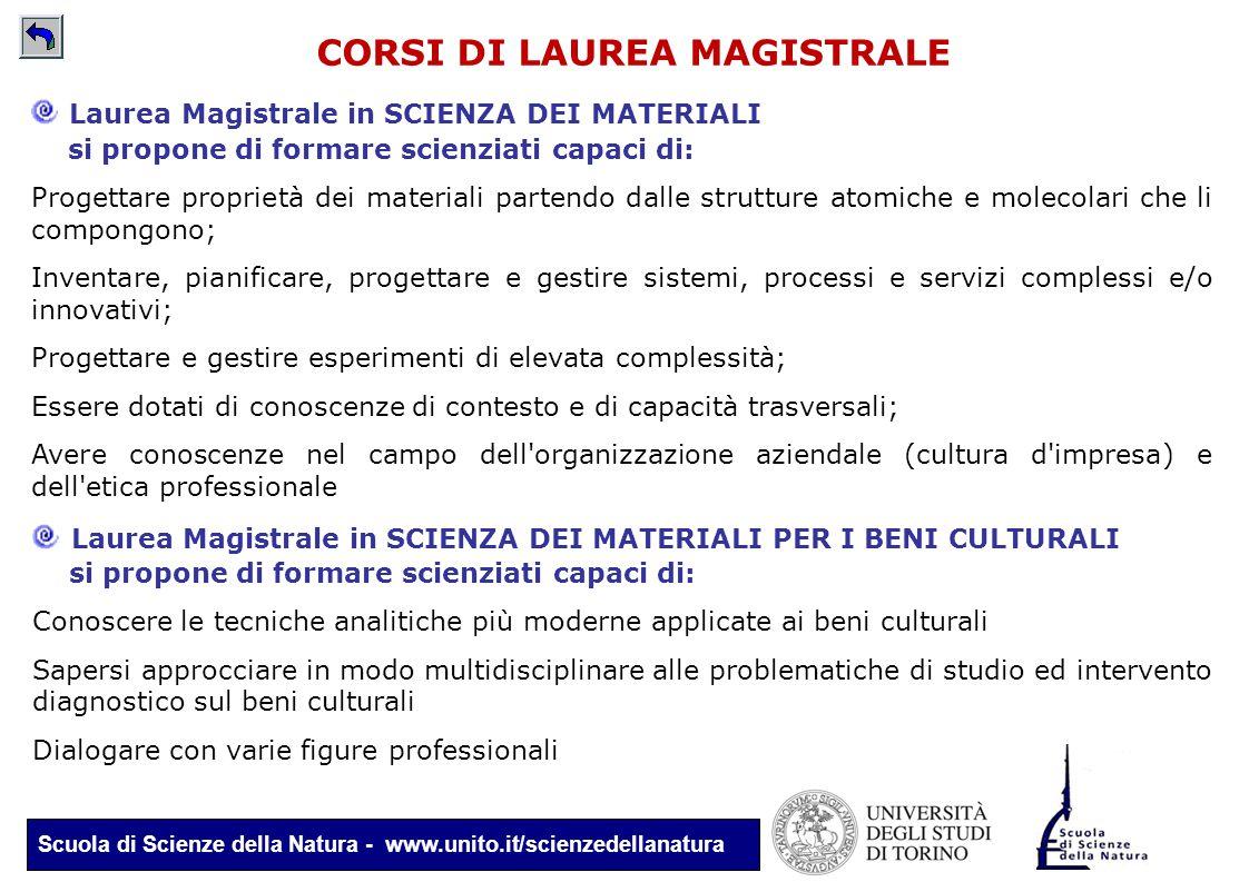 Scuola di Scienze della Natura - www.unito.it/scienzedellanatura CORSI DI LAUREA MAGISTRALE Laurea Magistrale in SCIENZA DEI MATERIALI PER I BENI CULT