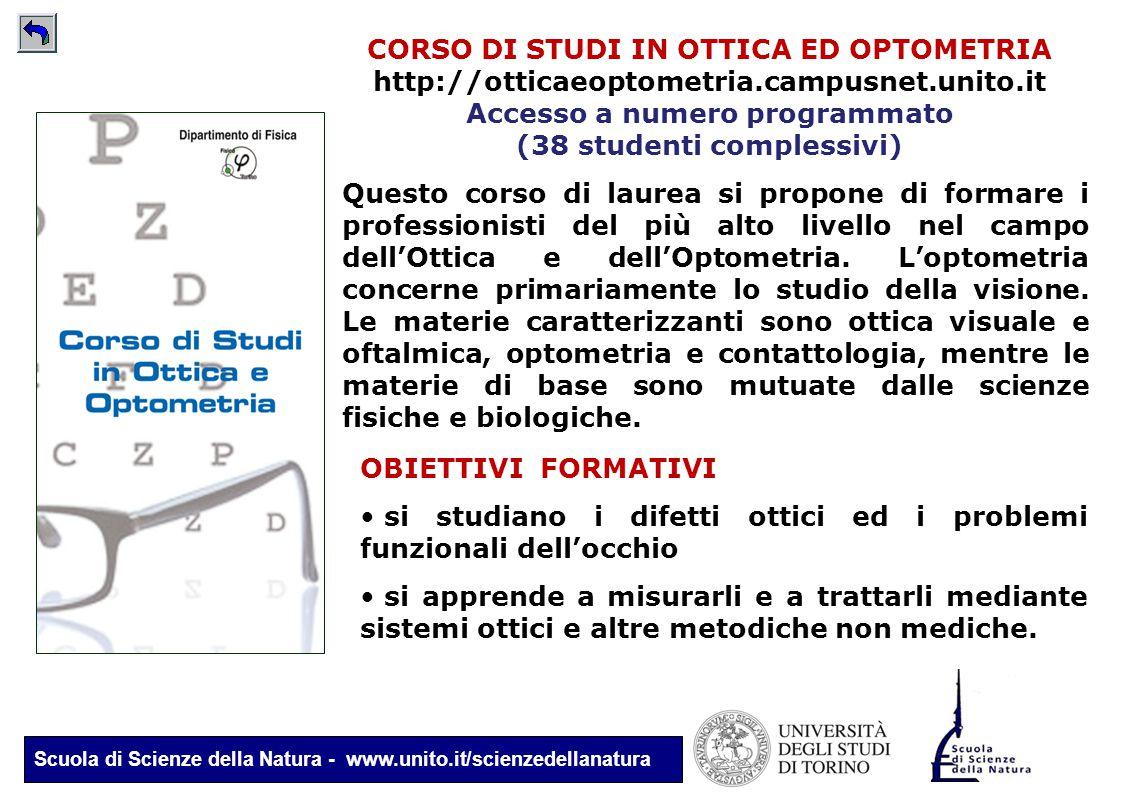 Scuola di Scienze della Natura - www.unito.it/scienzedellanatura CORSO DI STUDI IN OTTICA ED OPTOMETRIA http://otticaeoptometria.campusnet.unito.it Ac