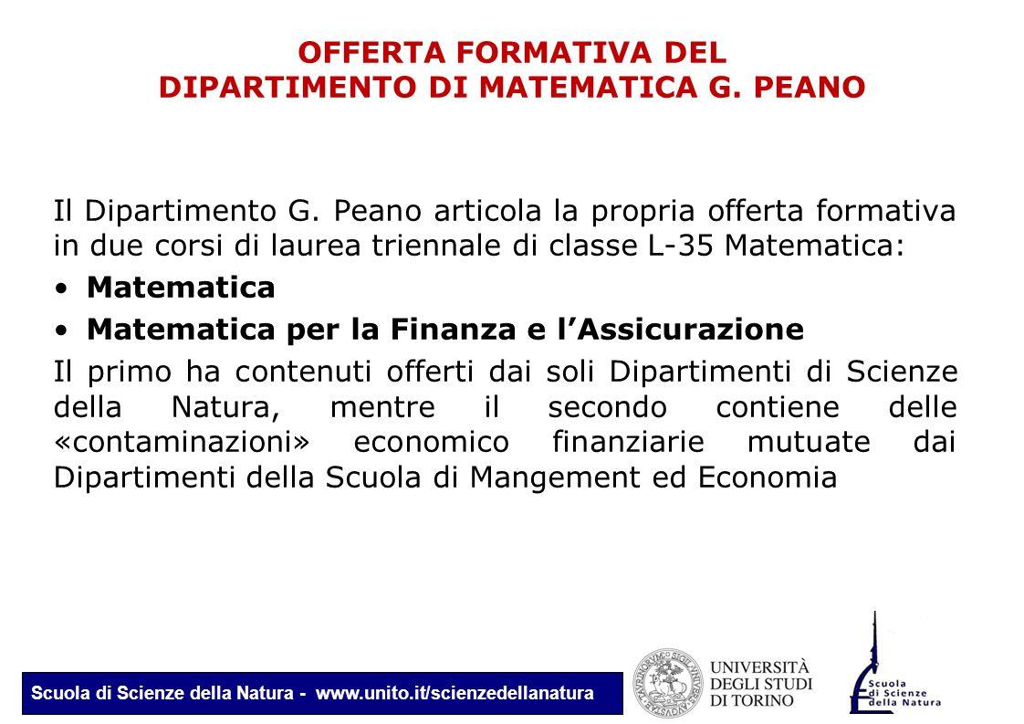 Scuola di Scienze della Natura - www.unito.it/scienzedellanatura OFFERTA FORMATIVA DEL DIPARTIMENTO DI MATEMATICA G. PEANO Il Dipartimento G. Peano ar