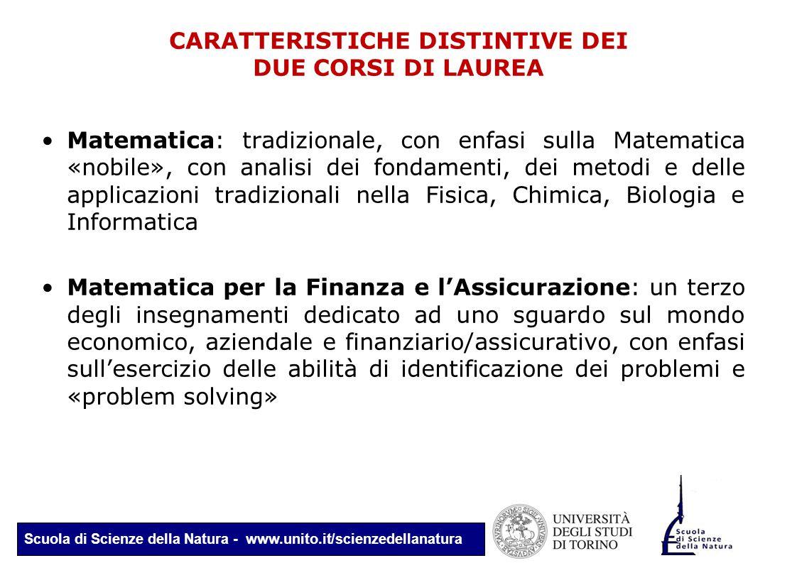 Scuola di Scienze della Natura - www.unito.it/scienzedellanatura CARATTERISTICHE DISTINTIVE DEI DUE CORSI DI LAUREA Matematica: tradizionale, con enfa