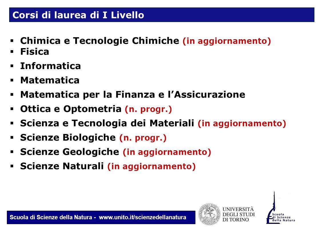 Scuola di Scienze della Natura - www.unito.it/scienzedellanatura  Chimica e Tecnologie Chimiche (in aggiornamento)  Fisica  Informatica  Matematic