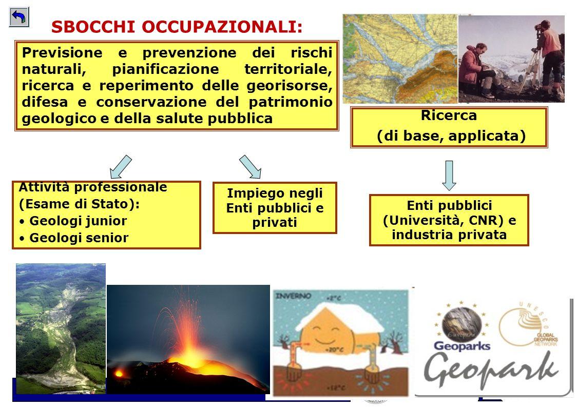 Scuola di Scienze della Natura - www.unito.it/scienzedellanatura SBOCCHI OCCUPAZIONALI: Attività professionale (Esame di Stato): Geologi junior Geolog
