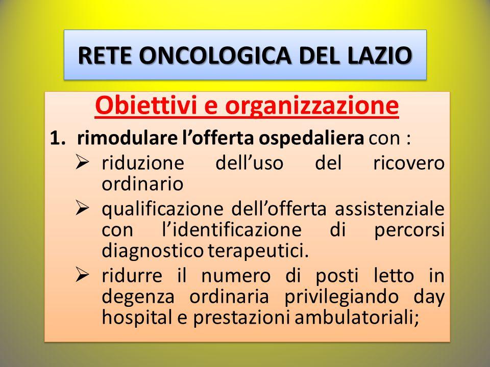 RETE ONCOLOGICA DEL LAZIO Obiettivi e organizzazione 1.rimodulare l'offerta ospedaliera con :  riduzione dell'uso del ricovero ordinario  qualificazione dell'offerta assistenziale con l'identificazione di percorsi diagnostico terapeutici.