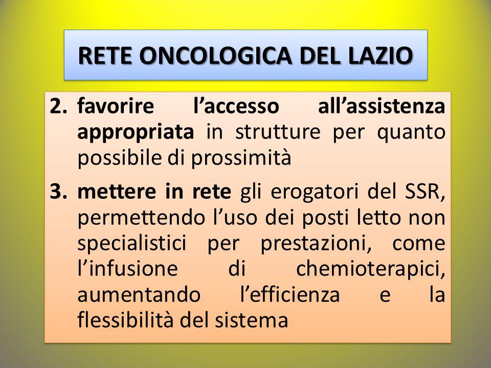 RETE ONCOLOGICA DEL LAZIO 2.favorire l'accesso all'assistenza appropriata in strutture per quanto possibile di prossimità 3.mettere in rete gli erogatori del SSR, permettendo l'uso dei posti letto non specialistici per prestazioni, come l'infusione di chemioterapici, aumentando l'efficienza e la flessibilità del sistema 2.favorire l'accesso all'assistenza appropriata in strutture per quanto possibile di prossimità 3.mettere in rete gli erogatori del SSR, permettendo l'uso dei posti letto non specialistici per prestazioni, come l'infusione di chemioterapici, aumentando l'efficienza e la flessibilità del sistema
