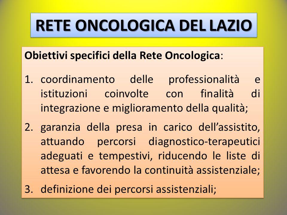 RETE ONCOLOGICA DEL LAZIO Obiettivi specifici della Rete Oncologica: 1.coordinamento delle professionalità e istituzioni coinvolte con finalità di integrazione e miglioramento della qualità; 2.garanzia della presa in carico dell'assistito, attuando percorsi diagnostico-terapeutici adeguati e tempestivi, riducendo le liste di attesa e favorendo la continuità assistenziale; 3.definizione dei percorsi assistenziali; Obiettivi specifici della Rete Oncologica: 1.coordinamento delle professionalità e istituzioni coinvolte con finalità di integrazione e miglioramento della qualità; 2.garanzia della presa in carico dell'assistito, attuando percorsi diagnostico-terapeutici adeguati e tempestivi, riducendo le liste di attesa e favorendo la continuità assistenziale; 3.definizione dei percorsi assistenziali;