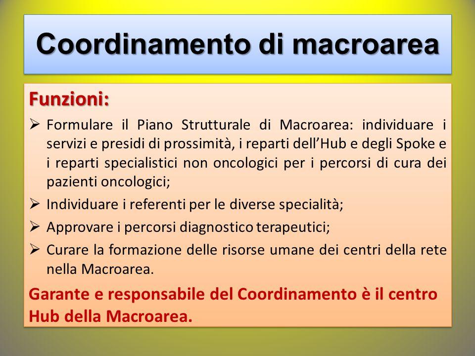 Funzioni:  Formulare il Piano Strutturale di Macroarea: individuare i servizi e presidi di prossimità, i reparti dell'Hub e degli Spoke e i reparti s