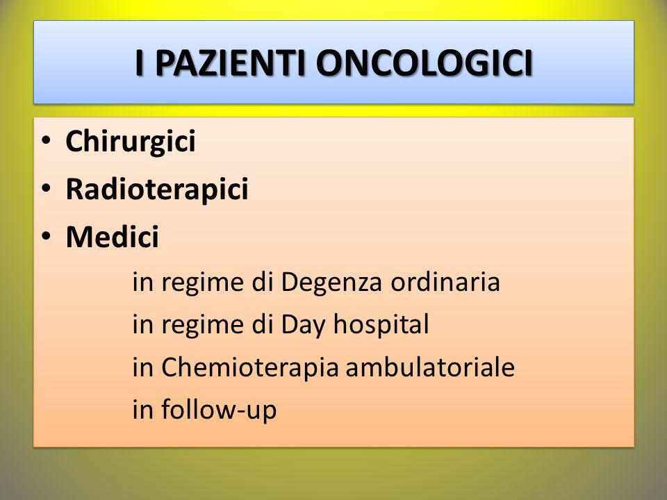 I PAZIENTI ONCOLOGICI Chirurgici Radioterapici Medici in regime di Degenza ordinaria in regime di Day hospital in Chemioterapia ambulatoriale in follo