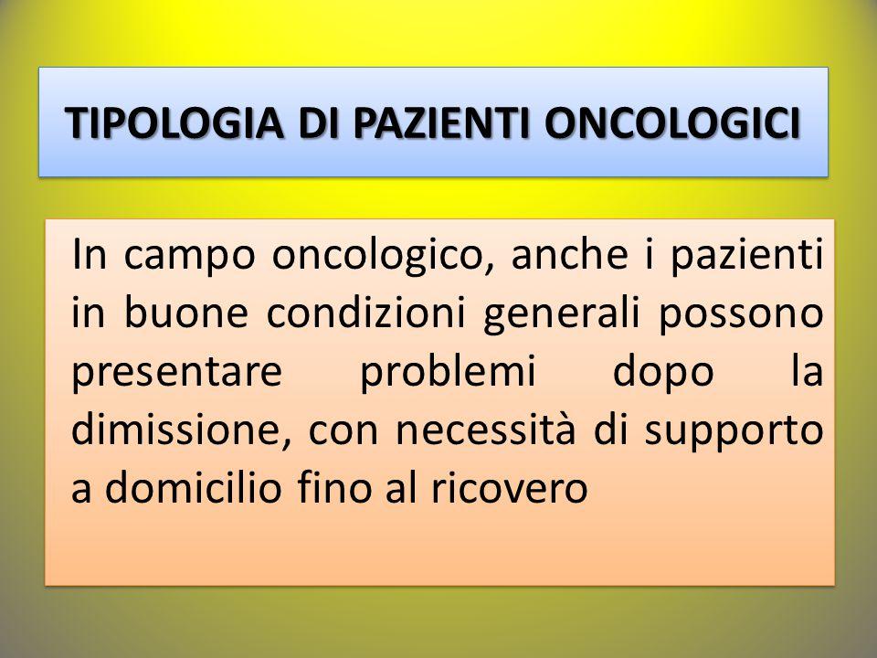 In campo oncologico, anche i pazienti in buone condizioni generali possono presentare problemi dopo la dimissione, con necessità di supporto a domicil