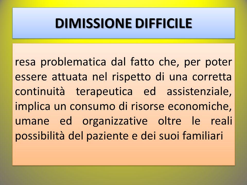 DIMISSIONE DIFFICILE resa problematica dal fatto che, per poter essere attuata nel rispetto di una corretta continuità terapeutica ed assistenziale, i