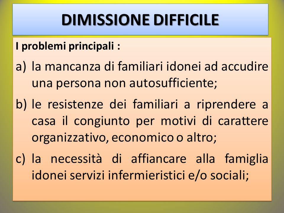 I problemi principali : a)la mancanza di familiari idonei ad accudire una persona non autosufficiente; b)le resistenze dei familiari a riprendere a ca