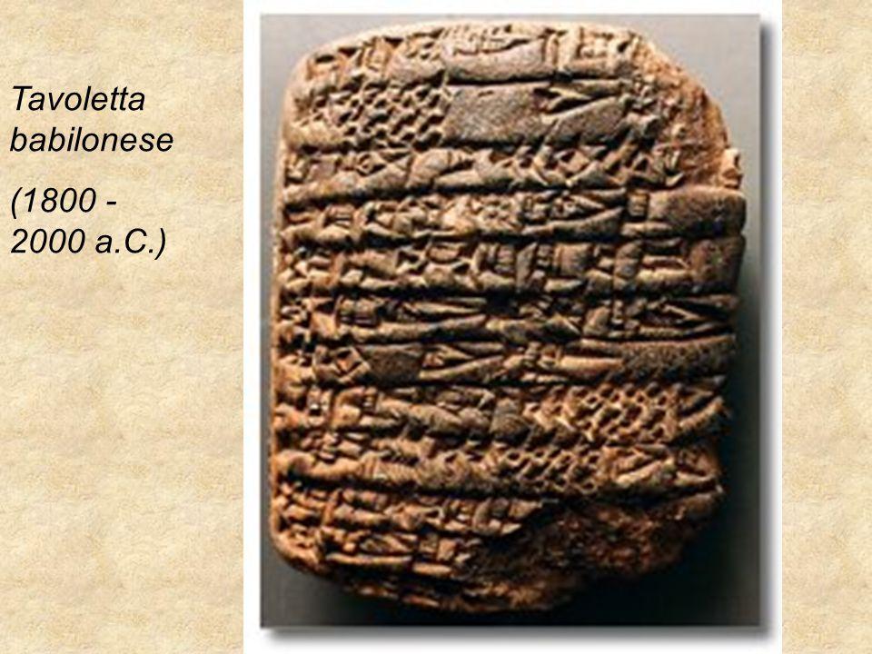 Prof.ssa Raffaella Guarino ITC Abba-Ballini Tavoletta babilonese (1800 - 2000 a.C.)