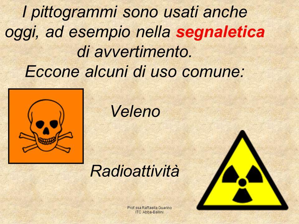 Prof.ssa Raffaella Guarino ITC Abba-Ballini I pittogrammi sono usati anche oggi, ad esempio nella segnaletica di avvertimento. Eccone alcuni di uso co