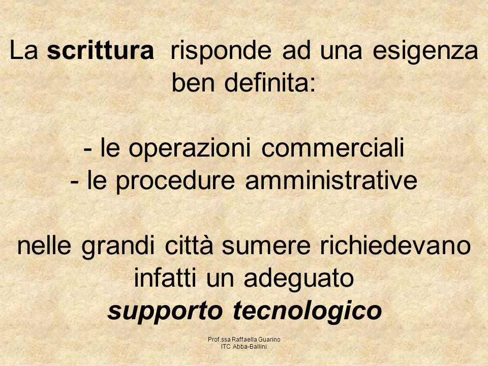 Prof.ssa Raffaella Guarino ITC Abba-Ballini La scrittura risponde ad una esigenza ben definita: - le operazioni commerciali - le procedure amministrat