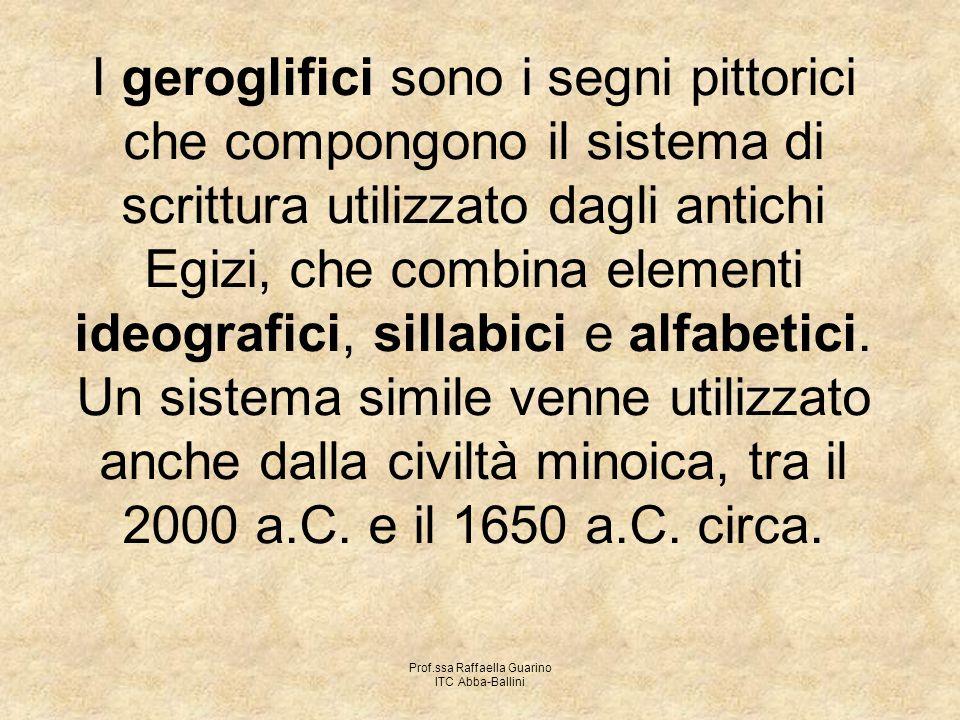 Prof.ssa Raffaella Guarino ITC Abba-Ballini I geroglifici sono i segni pittorici che compongono il sistema di scrittura utilizzato dagli antichi Egizi